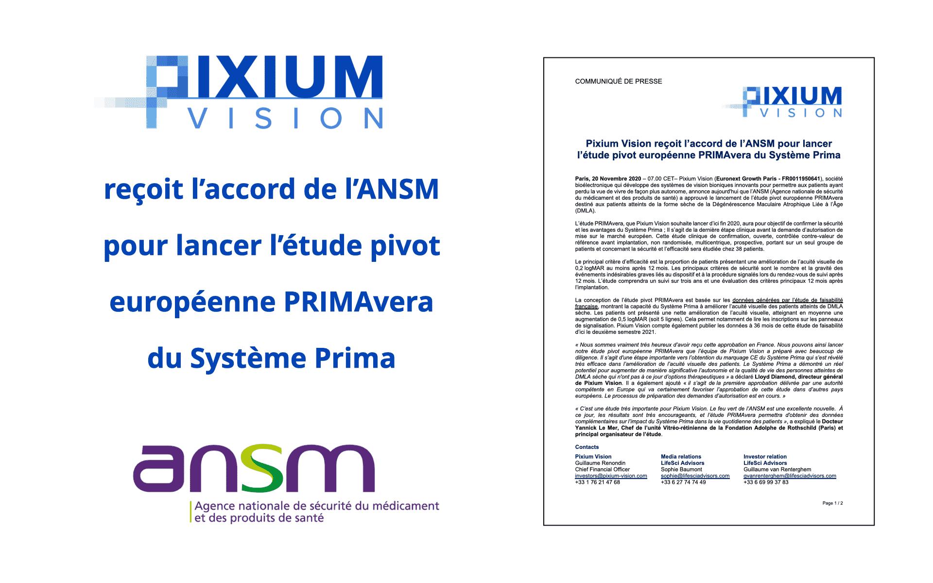 Pixium Vision recçoit l'accord de l'ANSM pour PRIMAvera