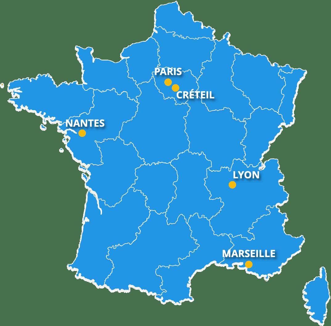 Carte des sites étude PRIMAvera France